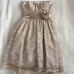 Short Formal Dress in Champagne Color